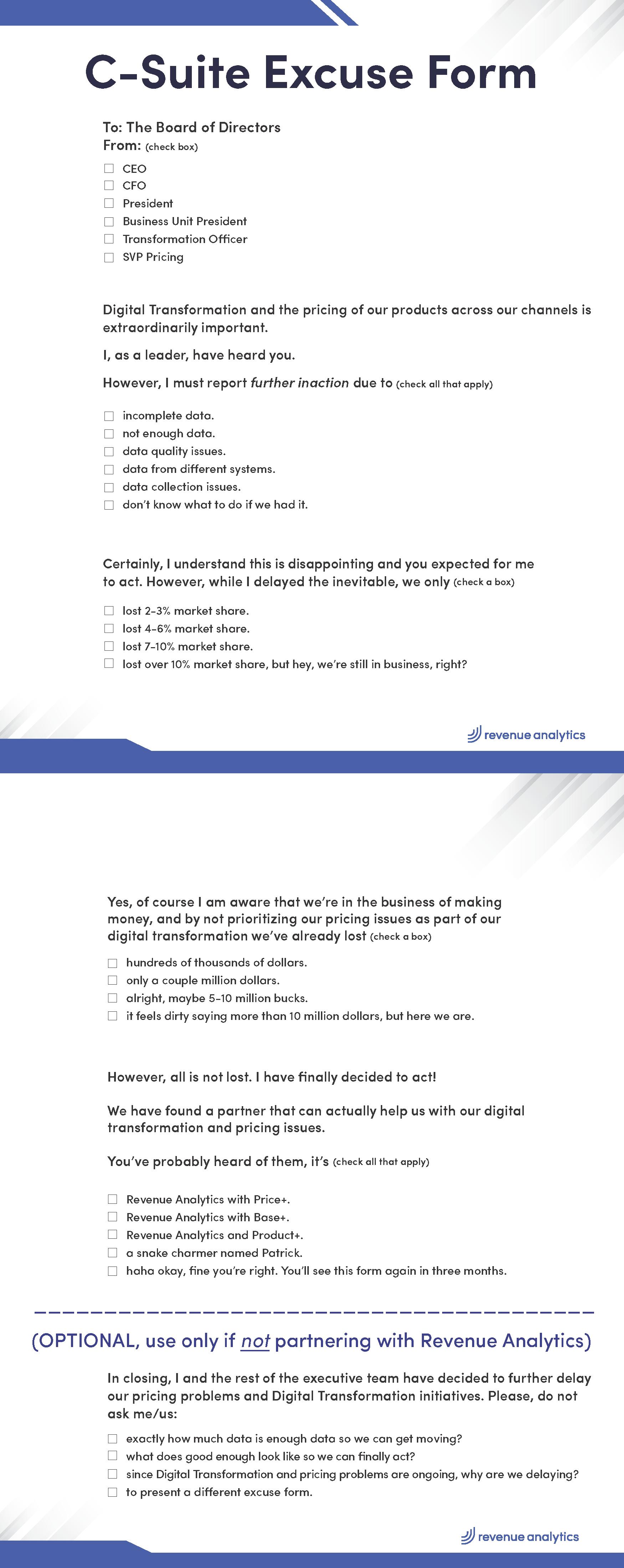 Revene Analytics C-Suite Excuse Form